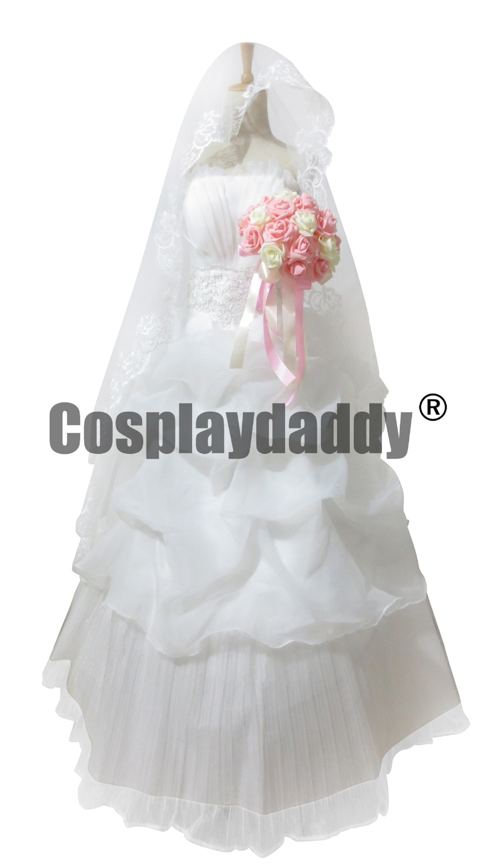 Yuno gasai vestido de novia blanco Future Diary/Mirai Nikki cosplay disfraz conjunto completo