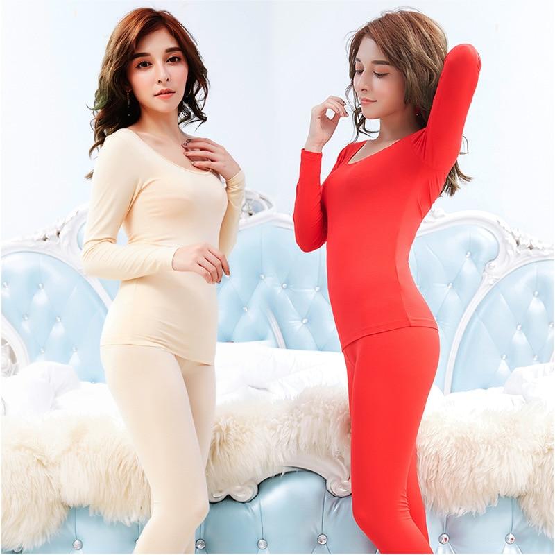 Autumn thin section adjustment large U-neck long-sleeved warm jacket underwear suit women Seamless slim backless women's enlarge