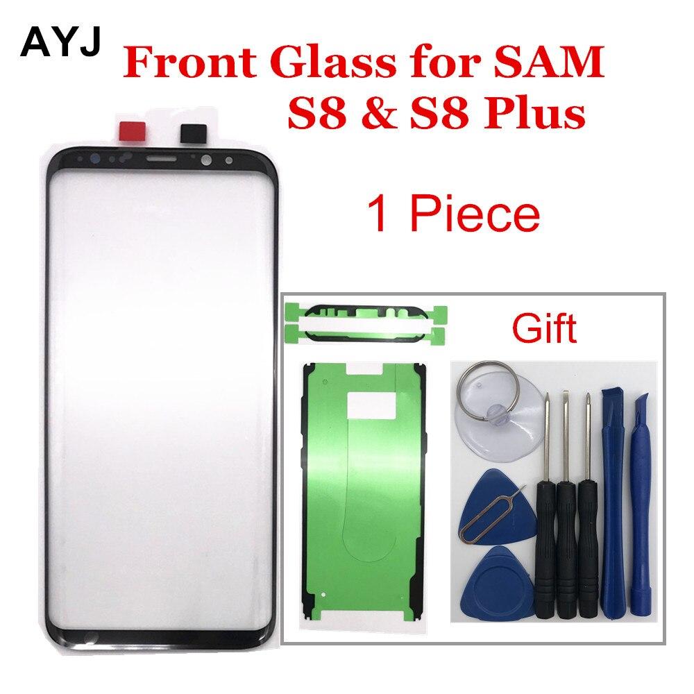 1 pieza AYJ reemplazo de la pantalla de vidrio para Samsung Galaxy S8 S9 Plus pantalla LCD táctil frontal exterior pegatina de lente externa herramientas de reparación