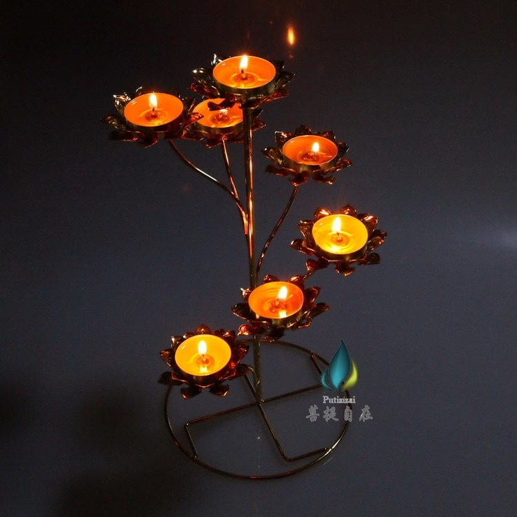 Portalámparas para mantequilla moldura para luz seven lotus Butter para soporte de lámpara ghee, se promociona paso a paso