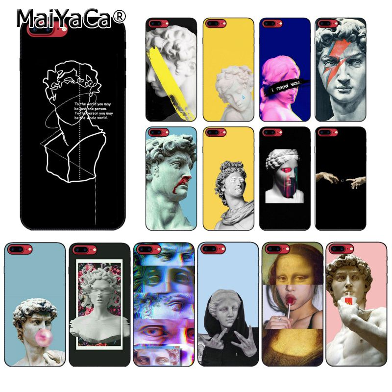 MaiYaCa soyut sanat hatları komik Vintage alçı heykel David sanat telefon kılıfı için iphone 11 Pro 8 7 6 6S artı 5 5S SE XR X XS MAX