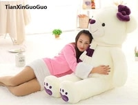 fillings toy love you bear plush toy huge 140cm white teddy bearpurple scarf bear doll soft hugging pillow birthday gift b1027