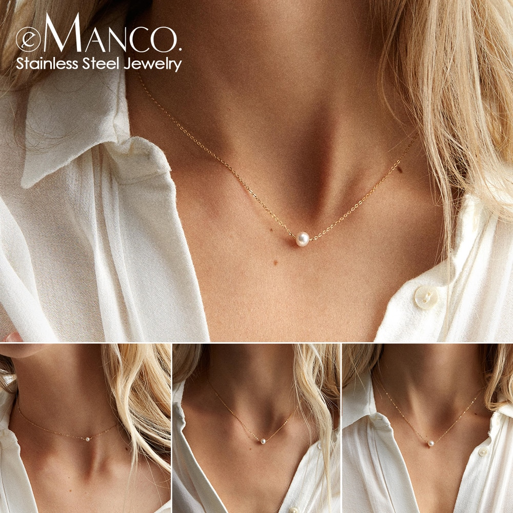 e-Manco stainless steel choker pearl necklaces for women gold layered Chain necklace jewelry gorgeous layered geometric body chain for women