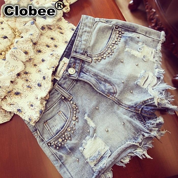 Verão frisado denim shorts feminino plus size s ~ 2xl vintage feminino jeans shorts borla denim shorts de alta qualidade lavagem jeans