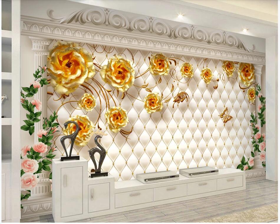 Sob encomenda da foto 3d papel de parede coluna Romana de ouro rosa suave pacote de luxo Europeu sala murais de parede papel de parede 3d para paredes 3 d