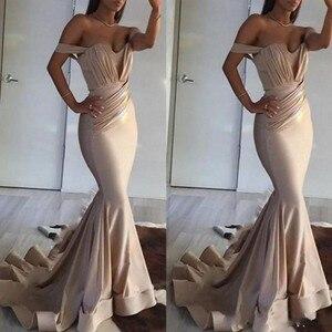 Formal Dress Women Elegant Off Shoulder Evening Dress Mermaid Long Evening Dresses robe de soiree Pleats Evening Gowns