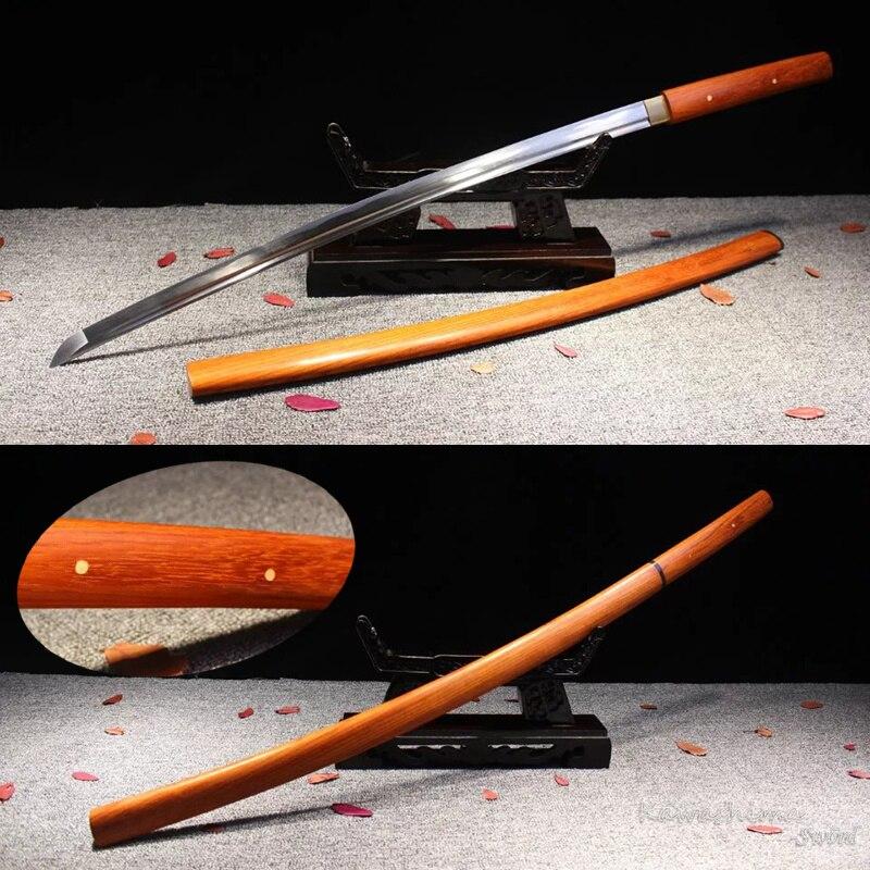 Espada samurái de acero al carbono 1045 forjada a mano Shirasaya, vaina de madera rosa, Katana Real japonesa, afilado, nuevo suministro completo Tang