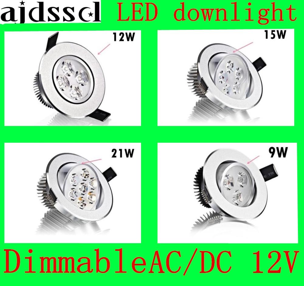 Светодиодный потолочный светильник, Встраиваемый светодиодный светильник с регулируемой яркостью, COB 9 Вт 12 Вт 15 Вт 21 Вт, Светодиодный точеч...