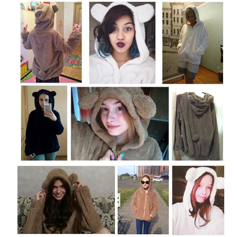 Hot Sprzedaż Kobiety Swetry Zipper Dziewczyna Zima Luźne Puszyste Niedźwiedź Ucha Bluza Z Kapturem Kurtka Warm Odzież Wierzchnia Płaszcz słodkie bluza H1301 13