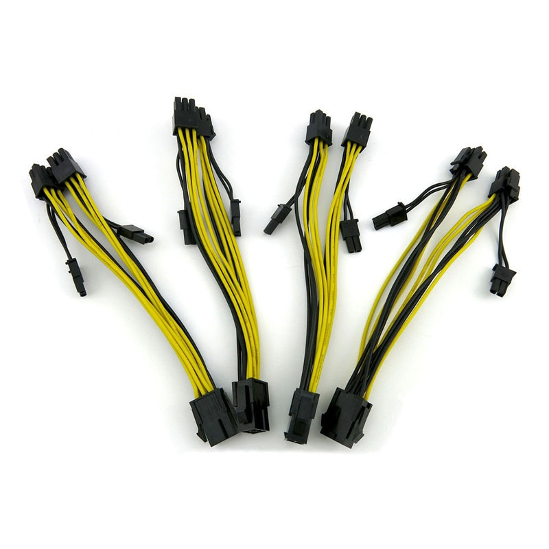 10pcs 20pcs high quality 30cm pc psu modular 12pin to dual 6pin pci e power flat cable cord 18awg 18AWG PCI-E 6pin to Dual 8-pin Y-Splitter Extension Cable