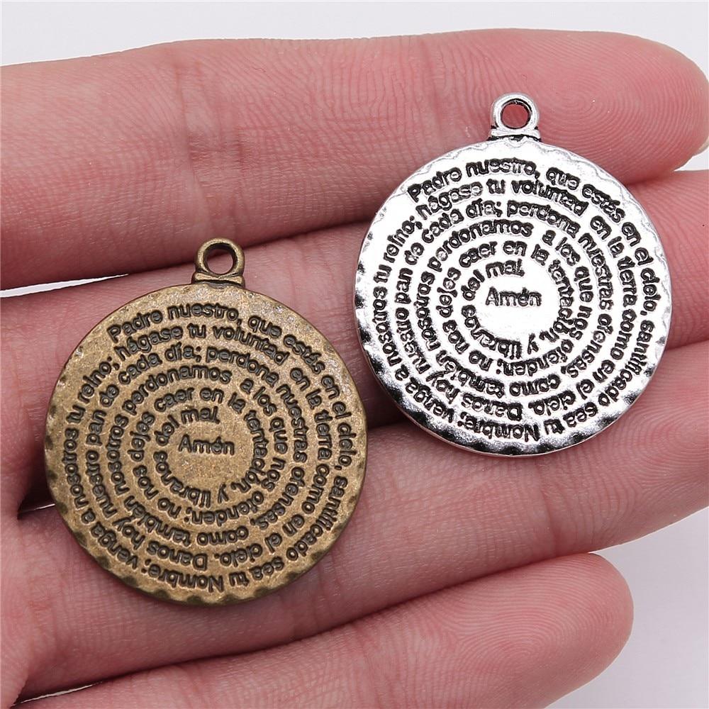 WYSIWYG 2pcs 32x28mm Pendant Bible Double Sided Round Amen Bible Charm Pendants For Jewelry Making Bible Amen Pendants