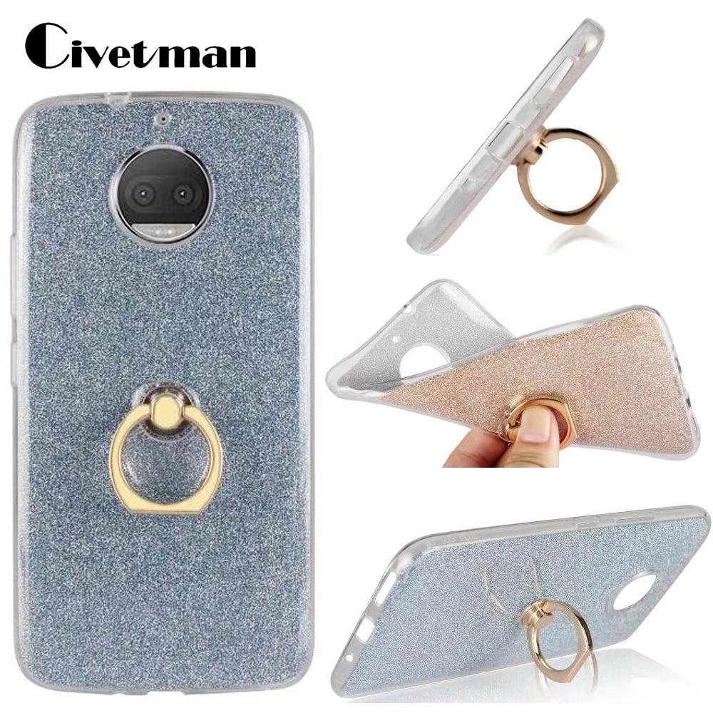 "Funda de teléfono para Motorola Moto G5S Plus 5,5 ""TPU silicona Gel transparente carcasa Flash Glitter polvo anillo de dedo Kickstand"