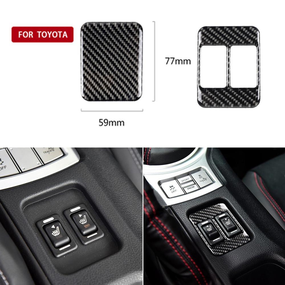 De fibra de carbono calefacción botón marco decorativo para Subaru BRZ Toyota TRD STI 86 adorno Interior del coche accesorios #628