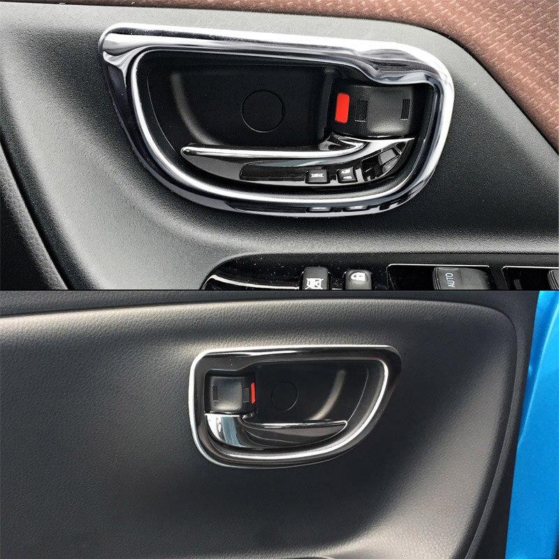 JY 4 pcs SUS304 Aço Inoxidável Interior Inner Handle Trims Cobertura Estilo Do Carro para Toyota Yaris Hatchback Vitz 2017 Facelift