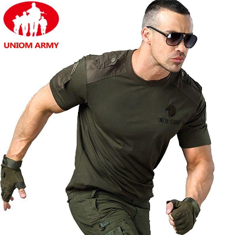 Армейская футболка, Мужская тактическая футболка зеленого цвета с коротким рукавом