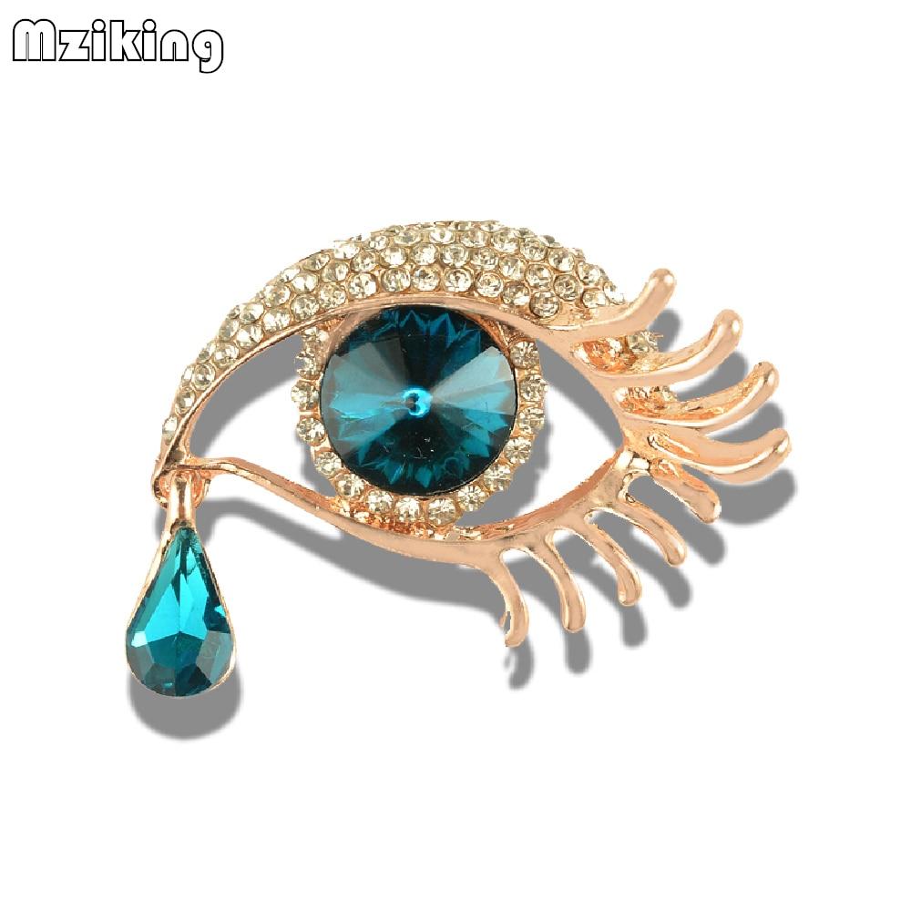 MZC Delicate Blue Crystal Eyes Brooches Pins Chic Eyelash Rhinestones Brosche for  Women Corsage Lapel Pins Mujer Brosh