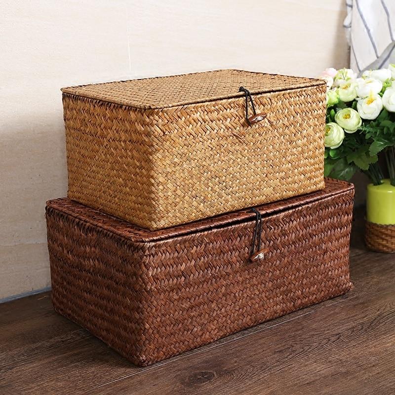 Ручная плетеная корзина для хранения с крышкой, коробка для хранения мусора, корзина для хранения, коробка для сортировки ювелирных изделий...