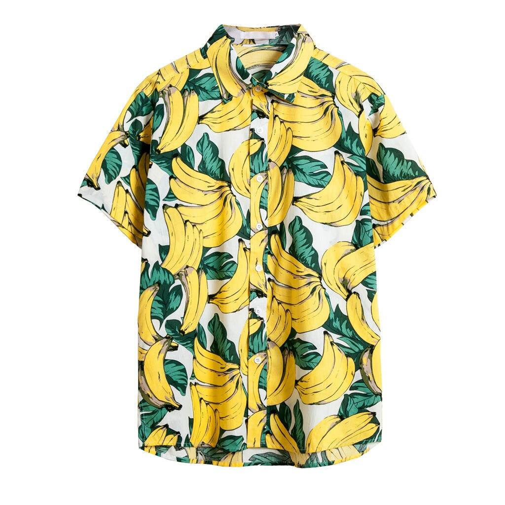 Mens Hawaiian Shirt Male Casual Banana print Beach Shirts short sleeve plus size camisas manga corta verano hombre summer 2019