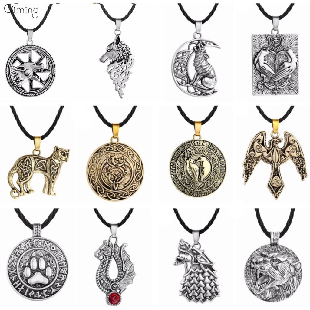 10 pçs/lote Nórdico Eslavo Kolovrat Colar Dos Homens Por Atacado de Bronze Animais Lobo Amuletos Charme Viking Jóias Declaração Colar de Mulheres