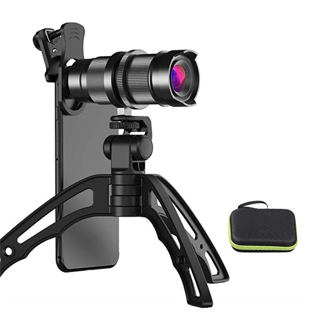 Lente de cámara de teléfono móvil HD 4X-12X Zoom, teleobjetivo, lente telescópica + Mini trípode de Selfie para iPhone 7 6X8 Samsung, todos los teléfonos inteligentes