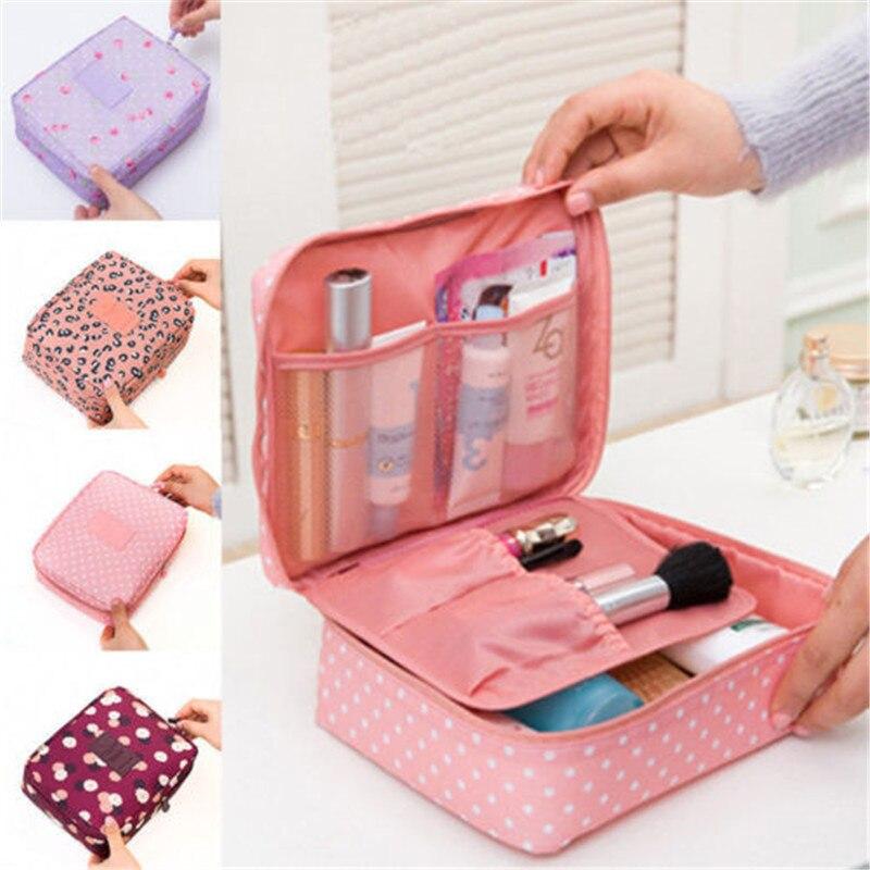 Caixa de armazenamento de viagem multifuncional organizador cosmético pano oxford acessório de higiene pessoal cosméticos compõem titular saco portátil bolsa