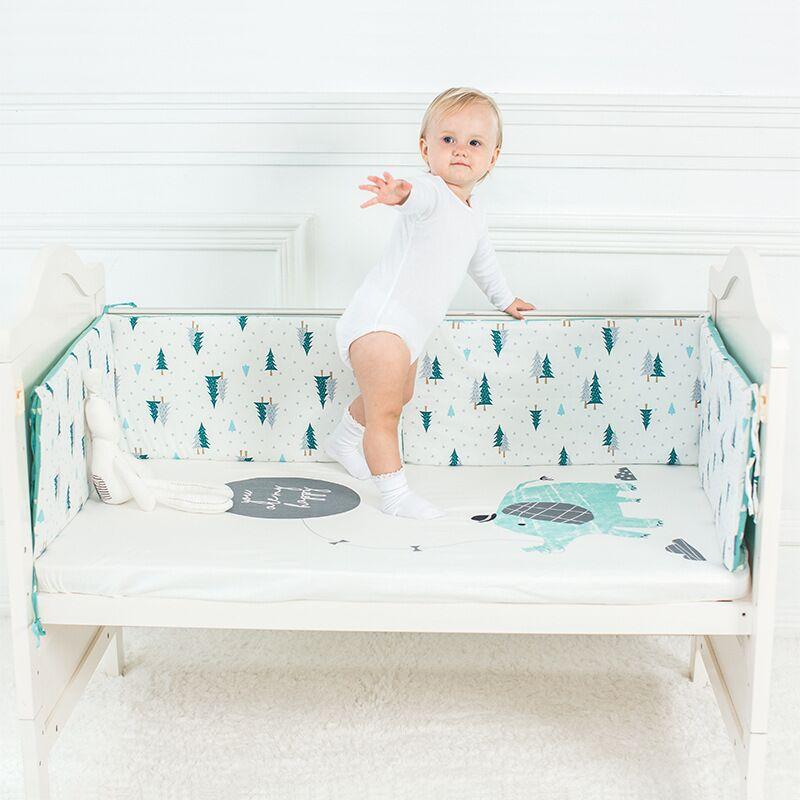 Parachoques de cama de bebé, Protector de cuna de algodón, parachoques de cuna de dibujos animados para recién nacidos, parachoques de cuna multicolor 120*30cm