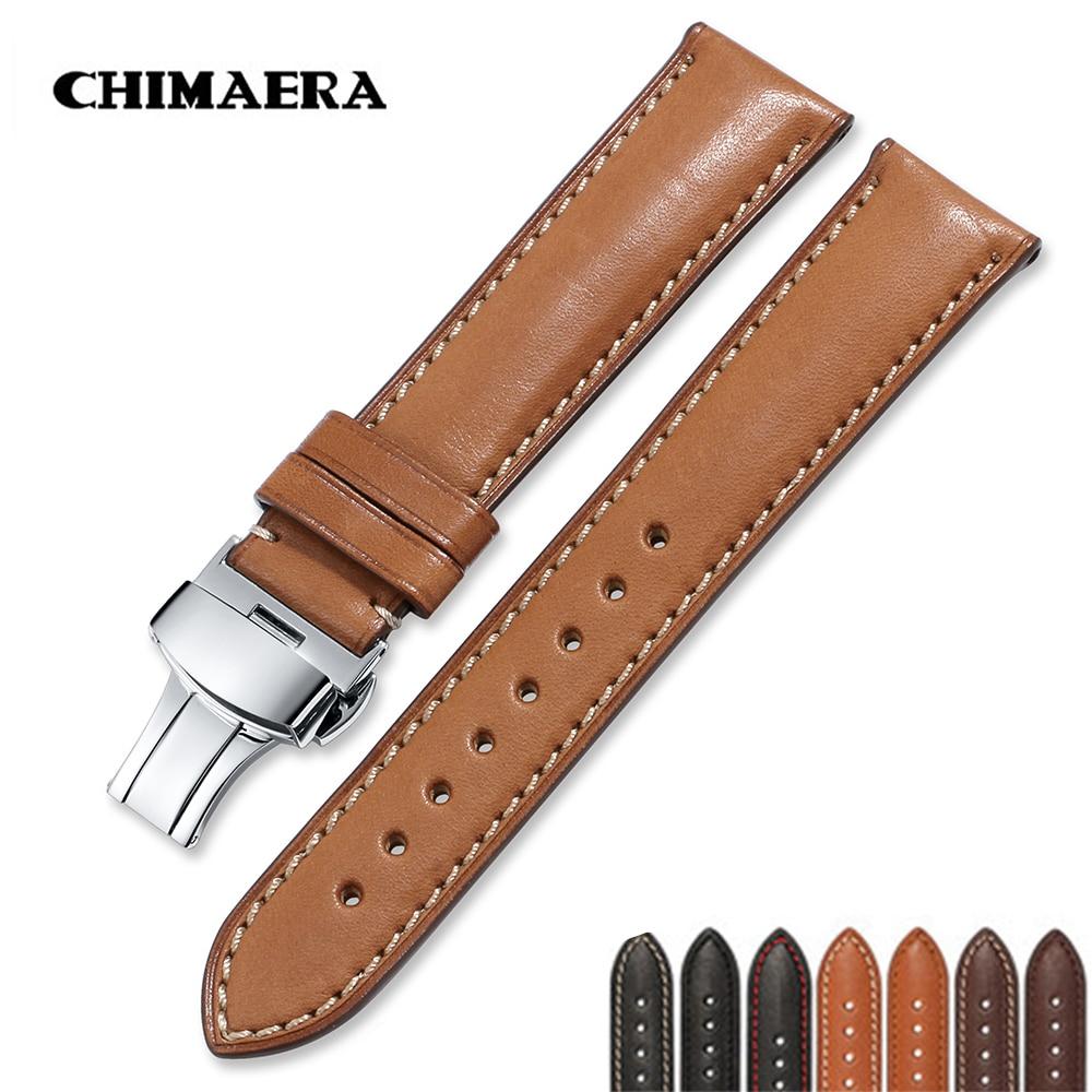 Frankreich Kalb Leder 16mm 18mm 19mm 20mm 22mm 24mm Lederband Männer Frauen Armband schmetterling Deployment Schnalle Uhr Band