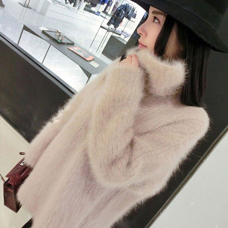 Gola alta de malha de pelúcia fofo camisola feminina manga longa rosa doce feminino pulôver 2020 outono inverno solto jumpers damasco