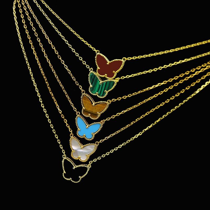 Hot Sale Color Butterfly Gold Color Copper Necklace