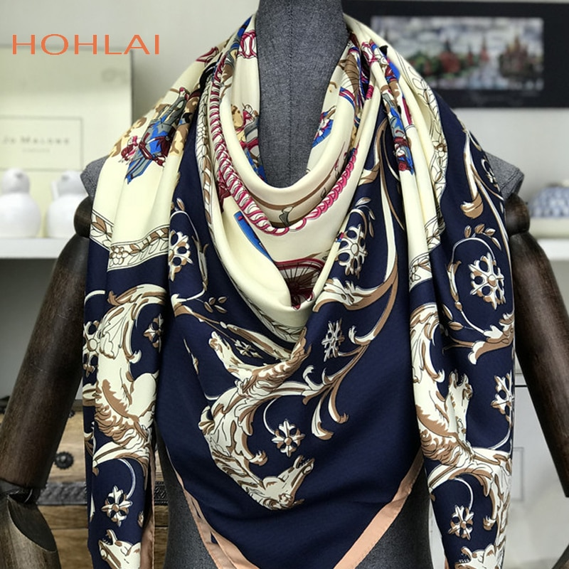 Sarga de seda Pañuelo cuadrado España caballo pañuelo estampado diseño Original Euro carro Foulard Hijab chal de seda chal bufanda femenina