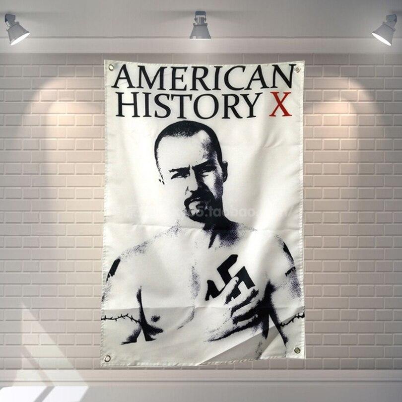 """""""미국 역사 X"""" 영화 포스터 스크롤 플래그 바 카페 호텔 테마 홈 장식 배너 교수형 예술 방수 천"""
