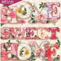 Meian-peinture diamant diamant theme  Sweet Home   broderie complete  perles rondes  mosaique bricolage-meme  decoration daccessoires de noel  soldes