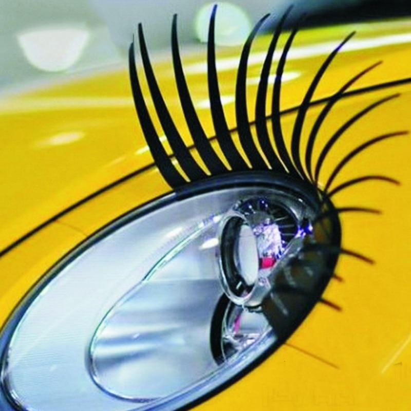 2pcs/Lot Headlight Eyelash Car 3D Cute Sticker PC Material Eyelashes Car False Eyelashes Sticker Electric Eye Car Accessories