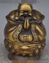 S3715 Chine bouddhisme Bronze heureux rire Bouddha Maitreya statue Encens Encensoir