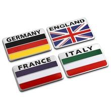 United Kingdom/France/Italy/Germany Nation Flag Car Aluminum Sticker for LandRover Range Rover Freelander Mini Countryman