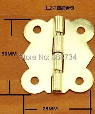 100 шт 25*30 мм сталь с латунным покрытием дверная петля шкафа 4 отверстия бабочка золотой тон