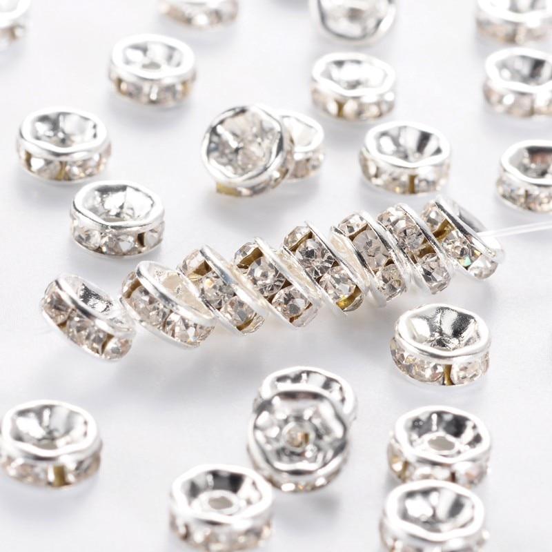Cuentas de espaciador de diamante de cristal de latón PANDAHALL 500 Uds 6/7/8mm Rondelle piezas de joyería hallazgos envío gratis al por mayor