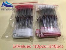 1/2w 0,5 W diodo Zener 3,3-30V 14 Valores * 10pcs = 140pcs surtido conjunto electrónica diy kit