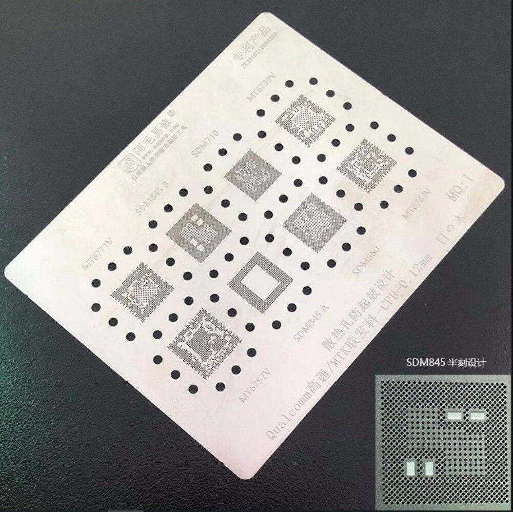Para MTK CPU IC plantilla BGA SDM845 SDM710 SDM660 MT6771V MT6757V MT6739V MT6763V Reballing estaño Plantilla de calefacción de soldadura