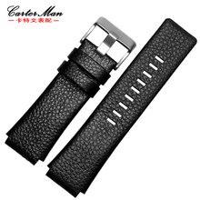 Nouveau bracelet de haute qualité en cuir véritable 28*20mm 28*22mm pour DZ1123 DZ1131 noir hommes montre bracelet