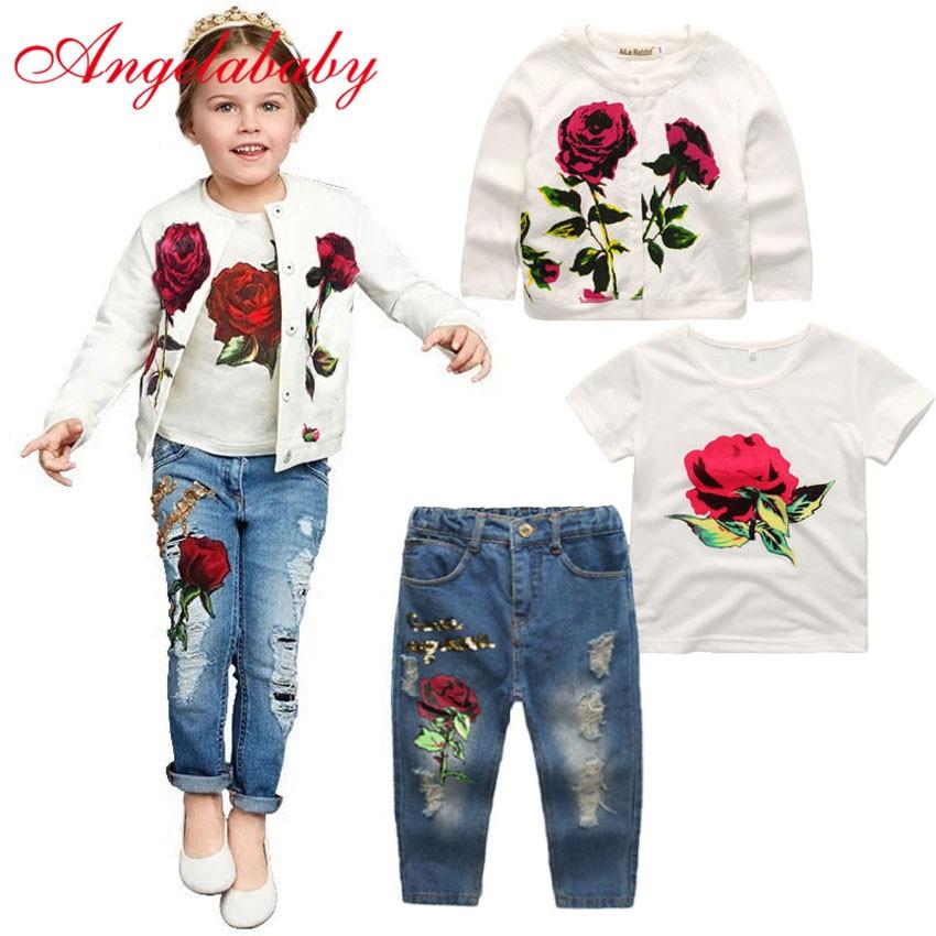 2019 Hot Girls Clothing Sets Jacket + T Shirt + Jeans 3 Pieces Fashion Rose Long Sleeve Coat Shirt Denim Children's Clothing Set