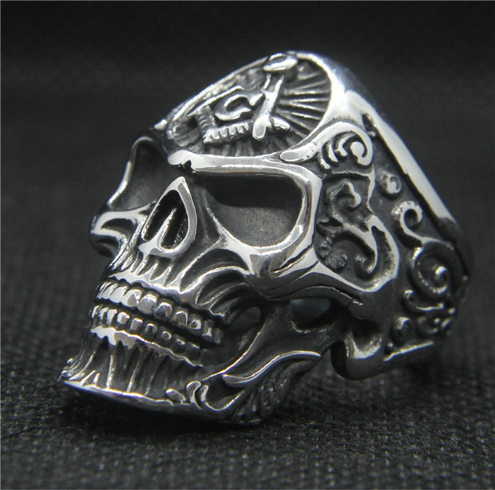 Triangulación de envíos, 2019, anillo de cráneo de moda, 316L, de acero inoxidable, para hombres, motorista, Punk, anillo de calavera fantasma