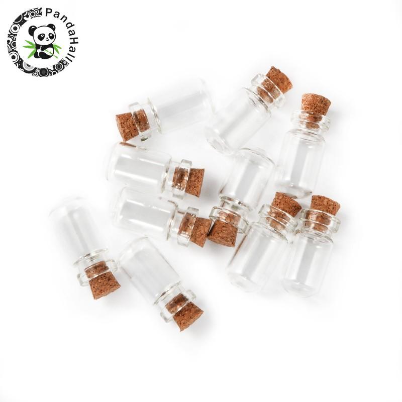10 Uds Mini cuenta de cristal transparente de almacenamiento de contenedores para Botella de deseo hacer 13x27mm