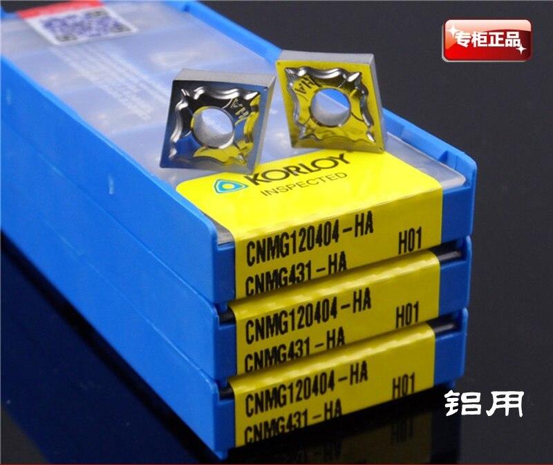 Herramientas de torneado KORLOY inserto de carburo CNMG120404-HA H01 insertos de carburo cementado para aluminio de cortador de fresado de Corea