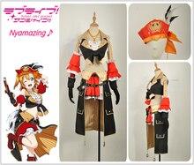Kousaka Honoka Cosplay Costume Love Live! Pirate Awakening Custom Sexy High Low Skirt Girl Dress Feather Hat Pigtail Long Wig