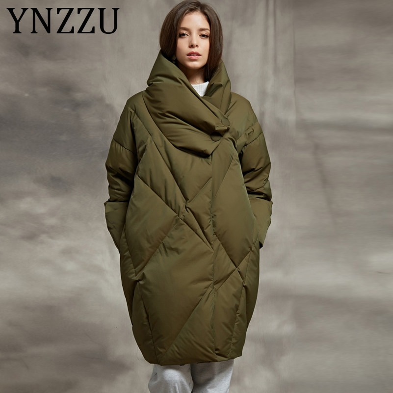 YNZZU 2019 Winter Bread Down Jacket Women Army Green Elegant Mid-Long Loose Thick Warm Coat White Goose Down Female Jacket AO563