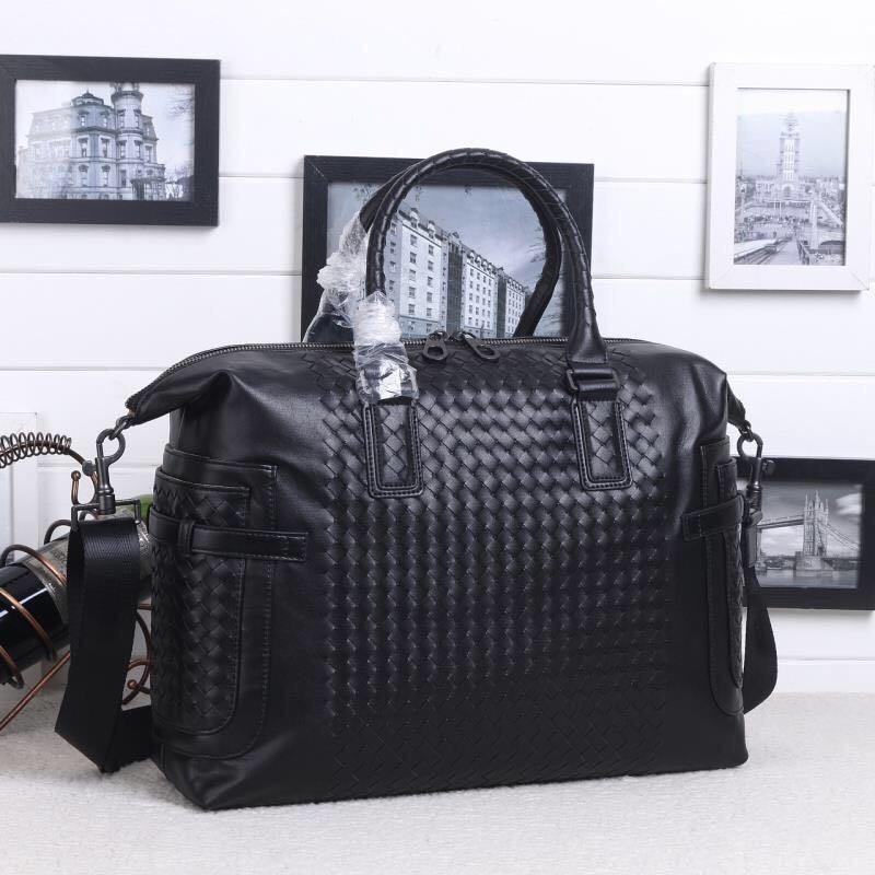 Kaisiludi leather man business braid mens handbag bovine purse horizontal briefcase casual single shoulder slant slant computer