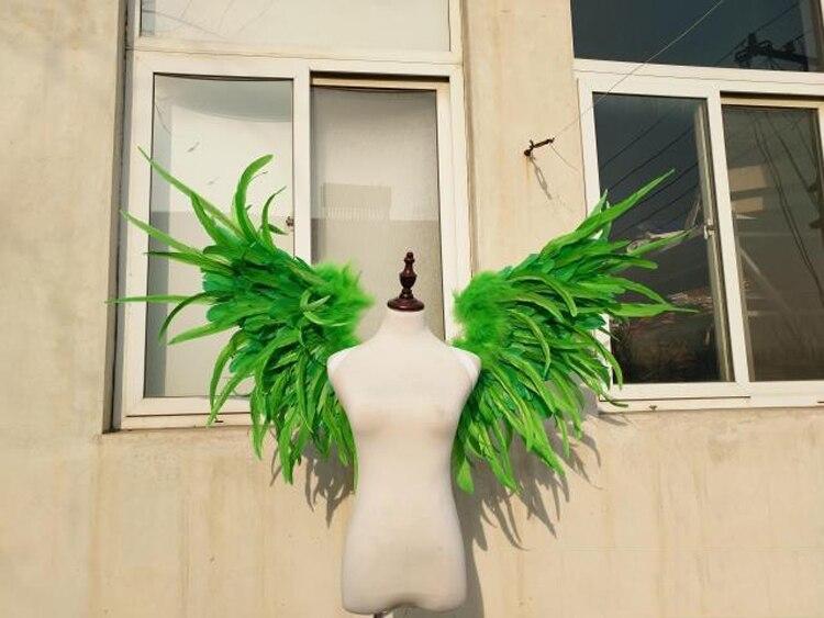Asas de penas verde surpreendente para fotografia Cosplay Jogo Jogo de Exibição adereços tiro air express frete grátis