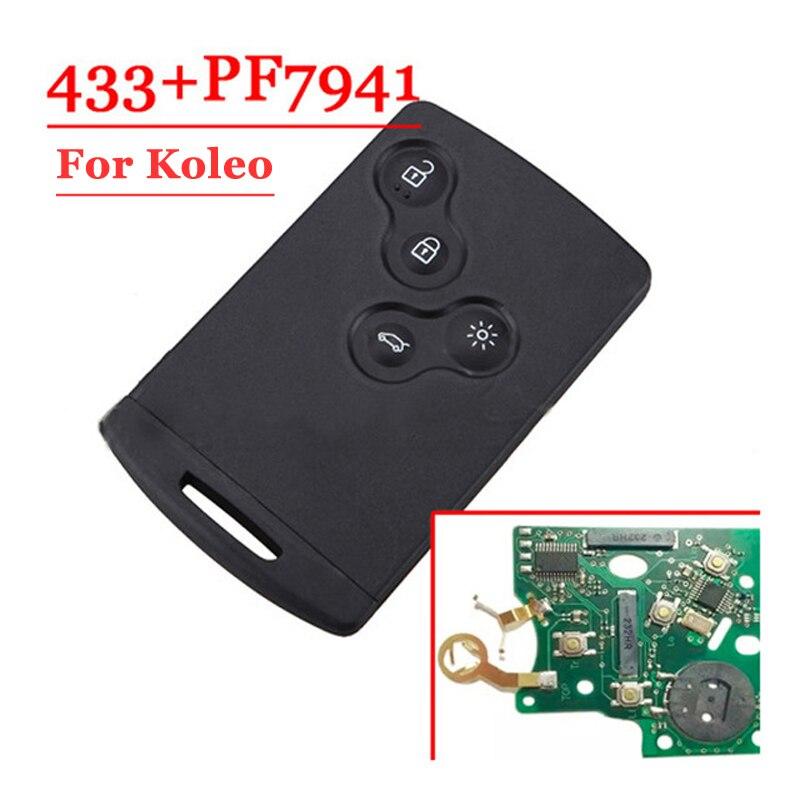 Envío gratis (5 unids/lote) tarjeta inteligente remota de 4 botones con Chip 7941 para Renault Koleo