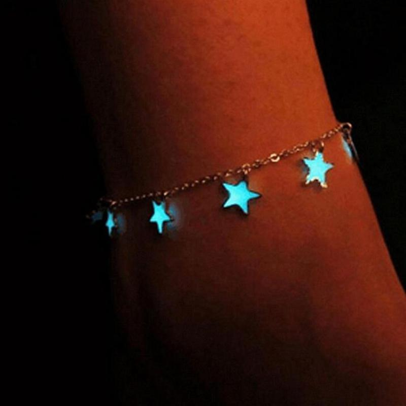 2019 New Fashion Luminous Ladies Beach Winds Blue Pentagon Star Tassel Anklet Chain Anklets For Wome
